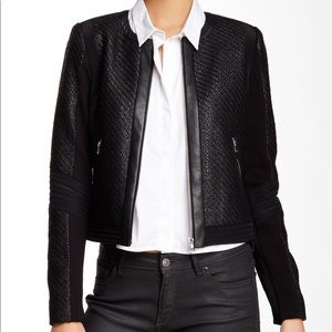 NEW Rebecca Taylor Faux Leather Trim Twill Jacket